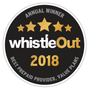 Award logo for Annual Winner Whistle Out 2018 for Best Prepaid Provider and Value Plans
