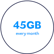 45GB monthly data plan label