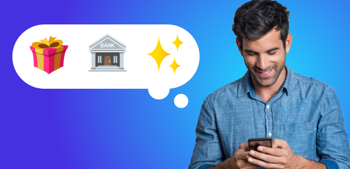 Man holding phone with thought cloud, holding emojis of gift, bank, and stars.
